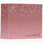 Glitter Stars And Rose Gold Marsala Gradient 3 Ring Binder