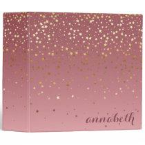 Glitter Stars And Rose Gold Marsala Gradient 3 Ring Binder