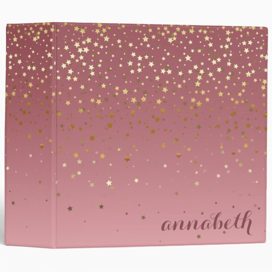 Glitter Stars And Rose Gold Marsala Gra nt 3 Ring Binder