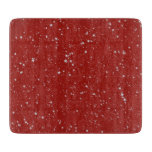Glitter Stars - Silver Red Cutting Board