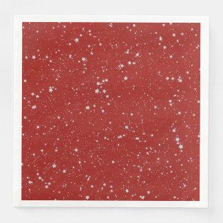 Glitter Stars - Silver Red Paper Dinner Napkin