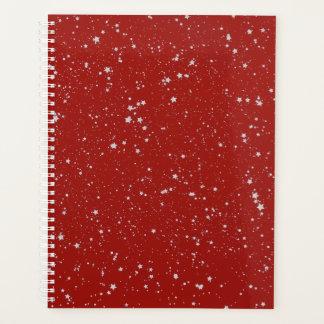 Glitter Stars - Silver Red Planner