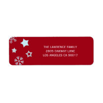 Glitter Stars Snowflakes Red Christmas Address Label
