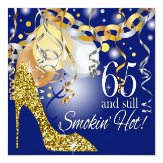 Glitter Stiletto 65th Birthday | royal blue gold Card