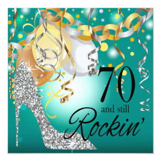 Glitter Stiletto 70th Birthday | teal silver Card