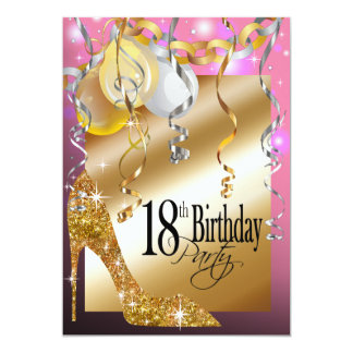Glitter Stiletto Balloons 18th Birthday pink 5x7 Paper Invitation Card