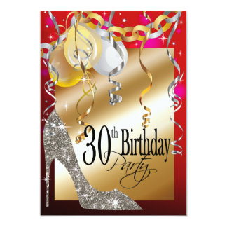 Glitter Stiletto Balloons 21st Birthday red Card