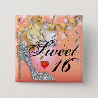 Glitter Stiletto Celebration for Sweet 16 peach Button