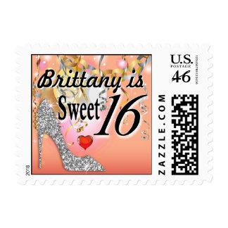 Glitter Stiletto Celebration for Sweet 16 peach Stamp