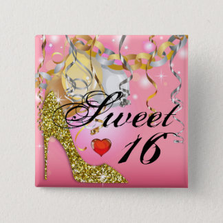 Glitter Stiletto Celebration for Sweet 16 | pink Pinback Button