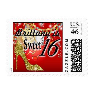 Glitter Stiletto Celebration for Sweet 16 red Postage Stamp