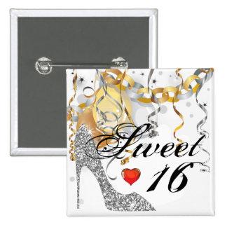 Glitter Stiletto Celebration for Sweet 16 white Pinback Button