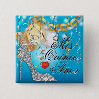 Glitter Stiletto Celebration Quinceañera blue Pinback Button