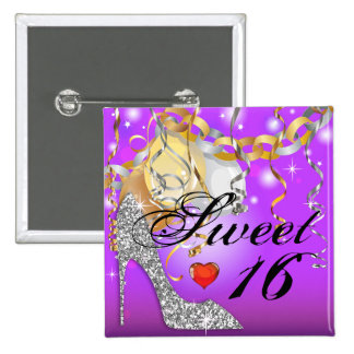 Glitter Stiletto Celebrations for Sweet 16 purple Buttons
