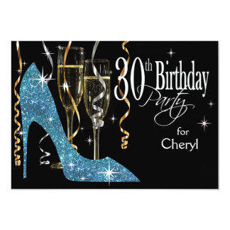 Glitter Stiletto Champagne 30th Birthday baby blue Card