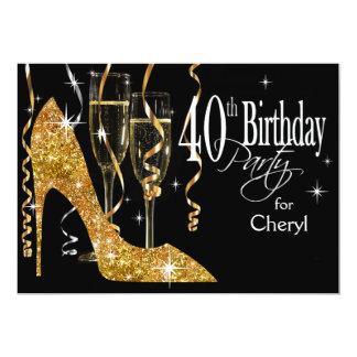 Glitter Stiletto Champagne 40th Birthday gold Card