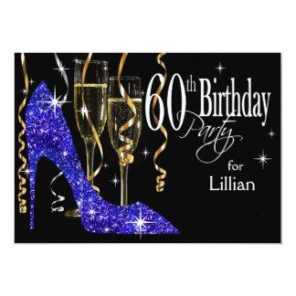 Glitter Stiletto Champagne 60th Birthday Blue Card