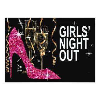 Glitter Stiletto Champagne Girls Night Out fuschia Card