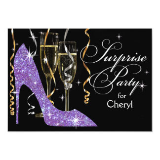 Glitter Stiletto Champagne Surprise Birthday lilac Card