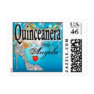 Glitter Stiletto Quinceañera Celebration | blue Stamp