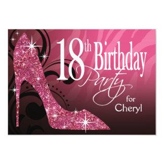 Glitter Stiletto Zebra 18th Birthday pink Card