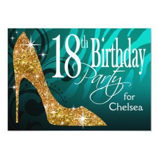 Glitter Stiletto Zebra 18th Birthday teal gold Card