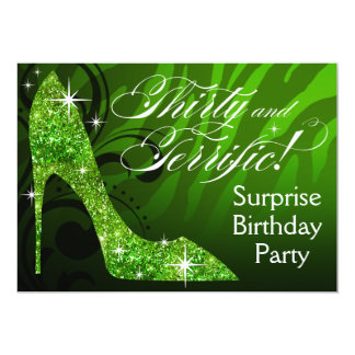 Glitter Stiletto Zebra 30 & Terrific Birthday Card