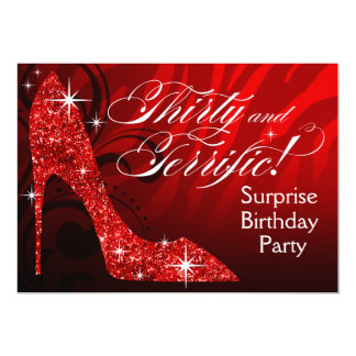 Glitter Stiletto Zebra 30 & Terrific Birthday red Card