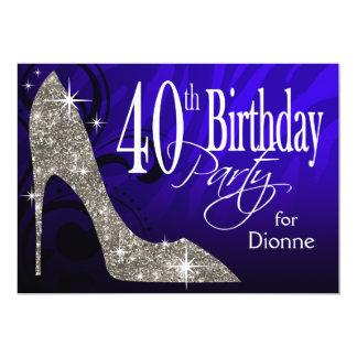 Glitter Stiletto Zebra 40th Birthday blue silver Personalized Announcements