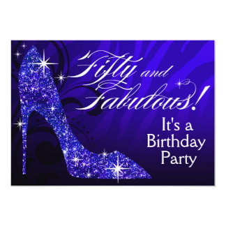 Glitter Stiletto Zebra 50 & Fabulous Birthday blue Card