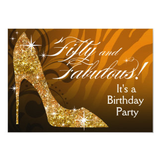Glitter Stiletto Zebra 50 & Fabulous Birthday gold Card