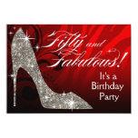Glitter Stiletto Zebra 50 & Fabulous Birthday red Cards