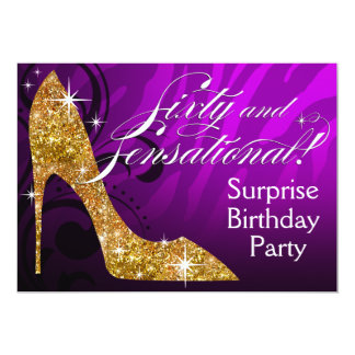 "Glitter Stiletto Zebra 60 & Sensational Birthday 5"" X 7"" Invitation Card"
