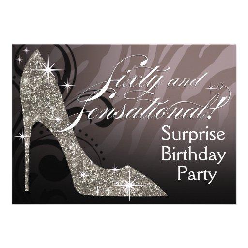Glitter Stiletto Zebra 60 & Sensational Birthday Personalized Invites
