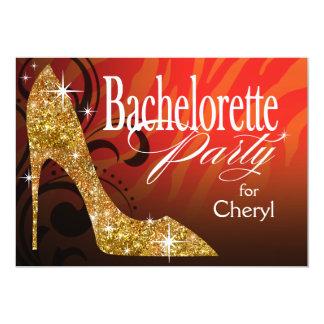 Glitter Stiletto Zebra Bachelorette Party orange Card