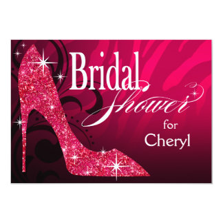 Glitter Stiletto Zebra Bridal Shower fuschia Card