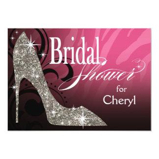 Glitter Stiletto Zebra Bridal Shower pink silver Card