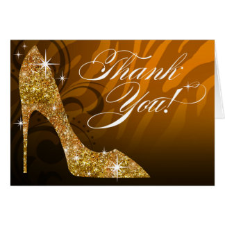 Glitter Stiletto Zebra Thank You | gold Card