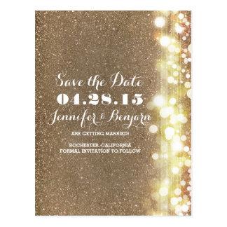 glitter string lights elegant chic save the date postcard