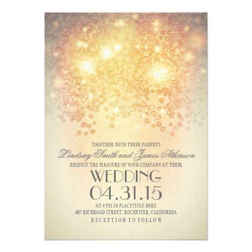 glitter string lights elegant vintage wedding personalized announcement