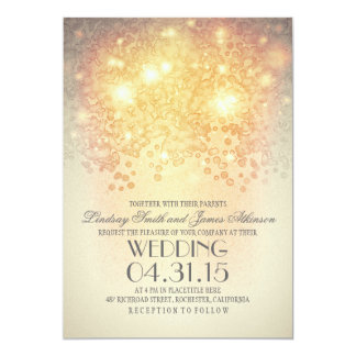 "glitter string lights elegant vintage wedding 5"" x 7"" invitation card"
