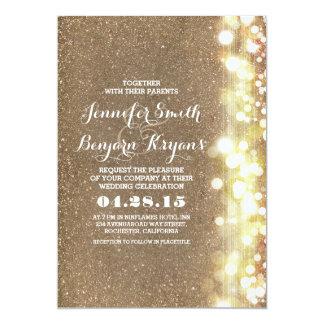 "glitter string lights glamours wedding invite 5"" x 7"" invitation card"