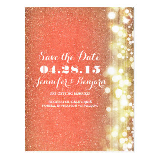 glitter string lights gold and peach save the date postcard