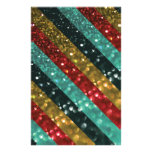 Glitter Striped Bold Colorful Design Stationery