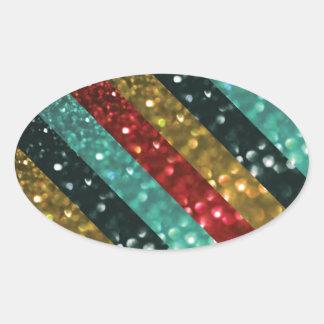 Glitter Striped Bold Colorful Design Oval Stickers