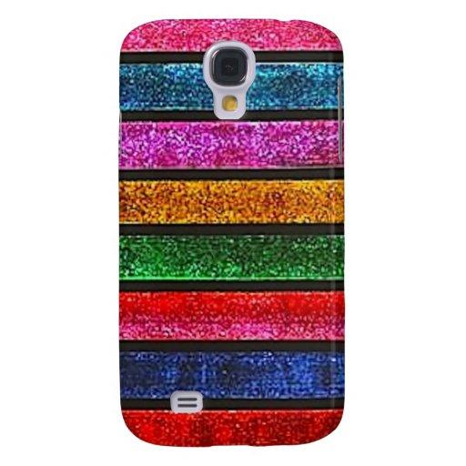 Glitter Stripes Galaxy S4 Cases