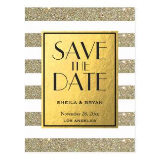 Glitter Stripes Gold Foil Save The Date Post Card
