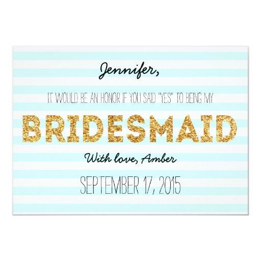 Glitter Stripes Will You Be My Bridesmaid Invite