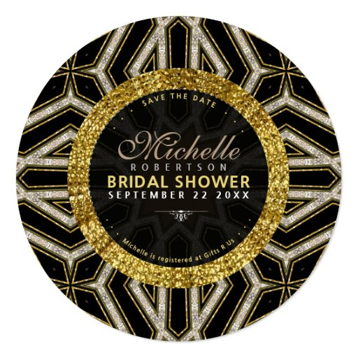 Glitter Style Gold Black Cross Bridal Shower Round Card