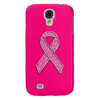 Glitter Style Pink Ribbon Awareness Design Galaxy S4 Cover